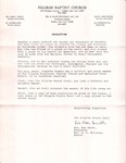 Undated; Letter; Resolution Pilgrim Baptist Church Choir