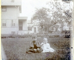 Children Outside on Lawn Photograph
