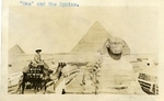 """Egypt; Giza; 1926; """"Mac"""" and the Sphinx; Photograph by Harry W. Rockwell"""