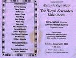 Program; 2011-01-30 by The Royal Serenaders Male Chorus