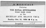 RS-Ticket; 1954-10-31 by The Royal Serenaders Male Chorus