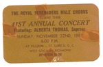 RS-Ticket; 1987-11-22 by The Royal Serenaders Male Chorus