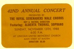 RS-Ticket; 1988-11-13 by The Royal Serenaders Male Chorus