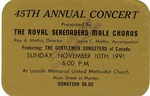 RS-Ticket; 1991-11-10 by The Royal Serenaders Male Chorus