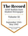 The Record, Volume 32, 1941-1942 by The Record, SUNY Buffalo State Student Newspaper