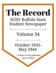 The Record, Volume 34, 1943-1944 by The Record, SUNY Buffalo State Student Newspaper