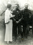 Zofia Krzyżanowska with Colonel Radulescu and His Aide
